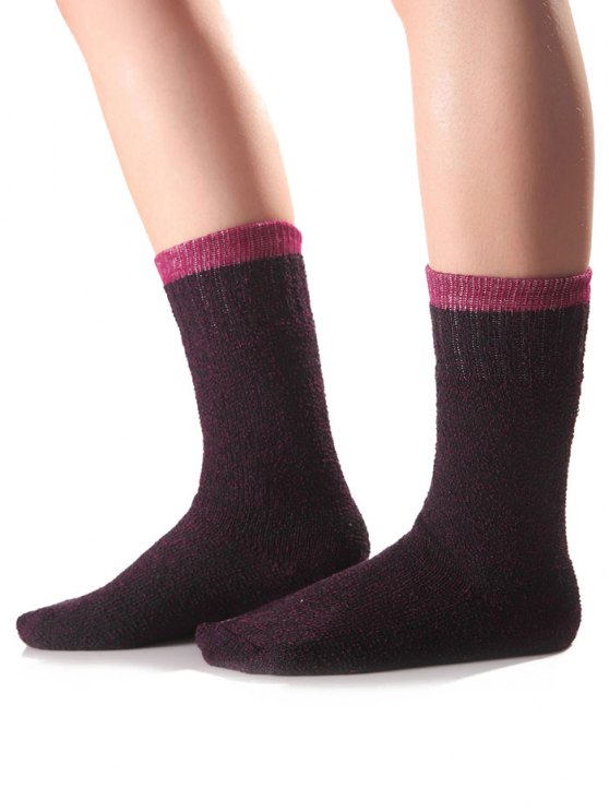 Candy Edge Knit Socks - PURPLE  Mobile