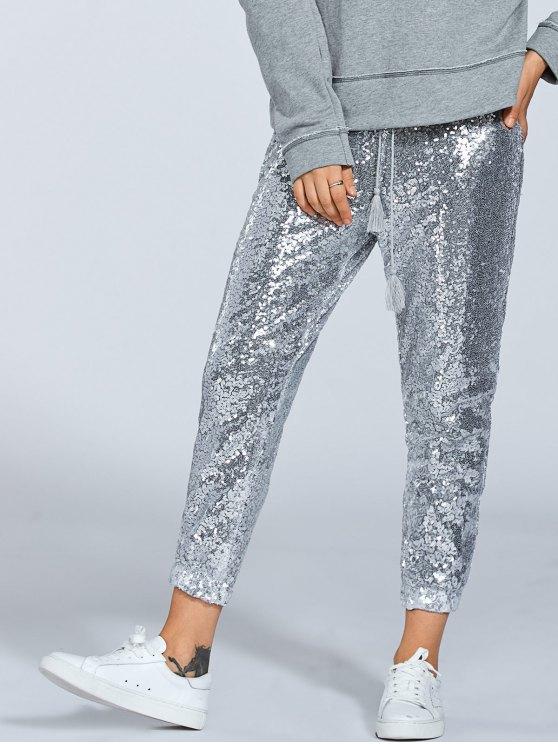 Sequins Drawsting Jogging Pants - SILVER XL Mobile
