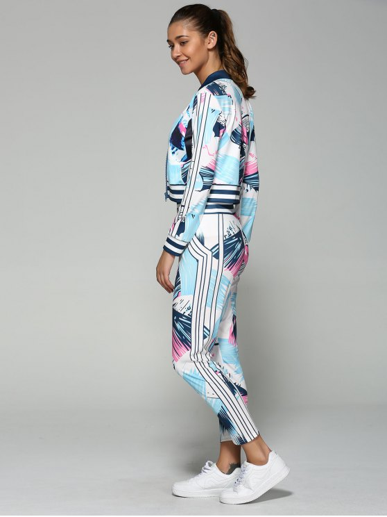 Bomber Jacket with Printed Pants - BLUE S Mobile