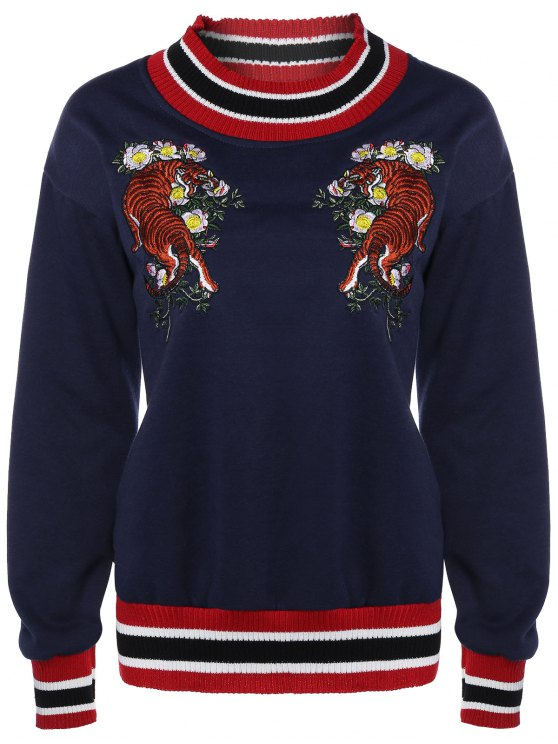 latest Tiger Embroidered Sweatshirt - CADETBLUE ONE SIZE