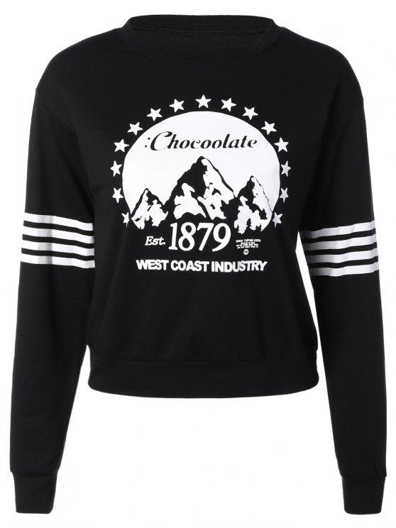 online Loose Sports Printed Sweatshirt - BLACK S