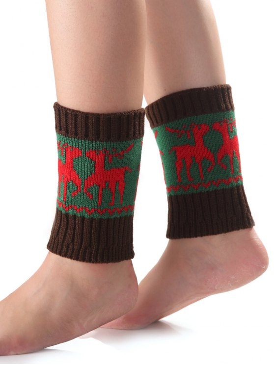 Christmas Deer Knit Boot Cuffs -   Mobile
