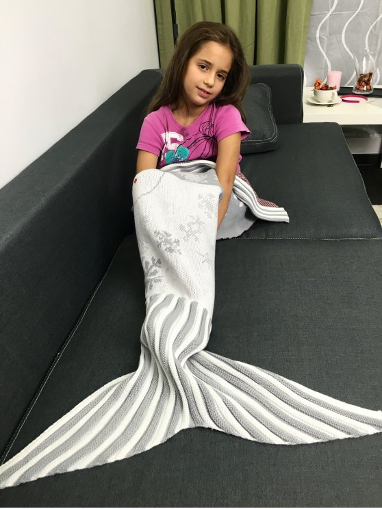 Christmas Knitted Snowman Pattern Mermaid Tail Blanket -   Mobile