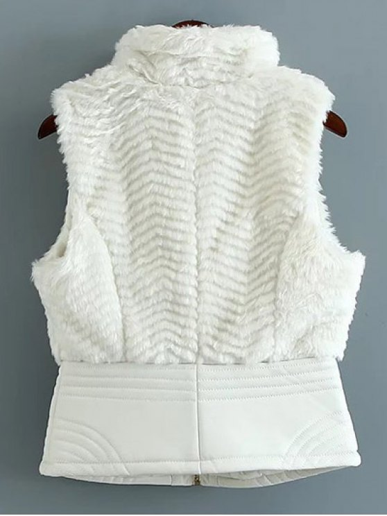 PU Leather Spliced Faux Fur Waistcoat - WHITE M Mobile