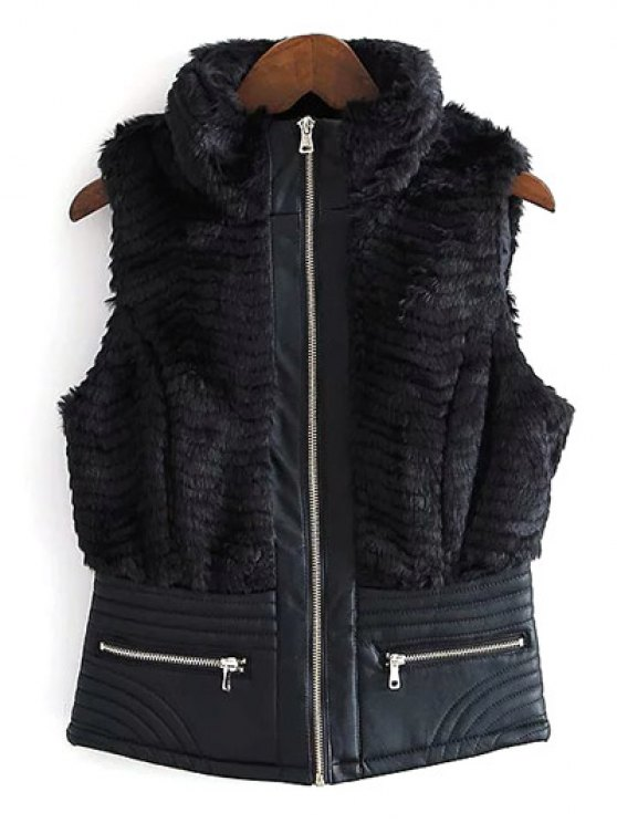 PU Leather Spliced Faux Fur Waistcoat - BLACK S Mobile