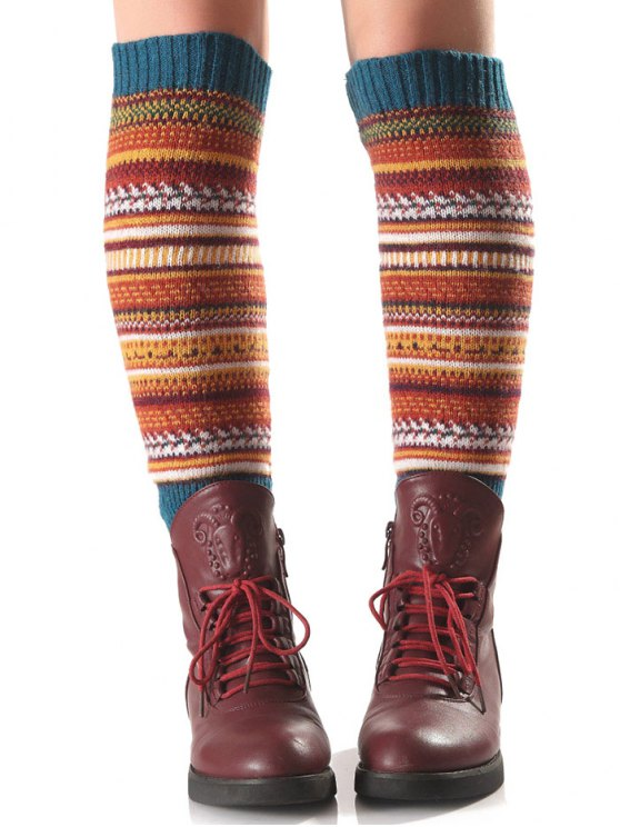 unique Ethnic Stripe Knit Leg Warmers - TURQUOISE