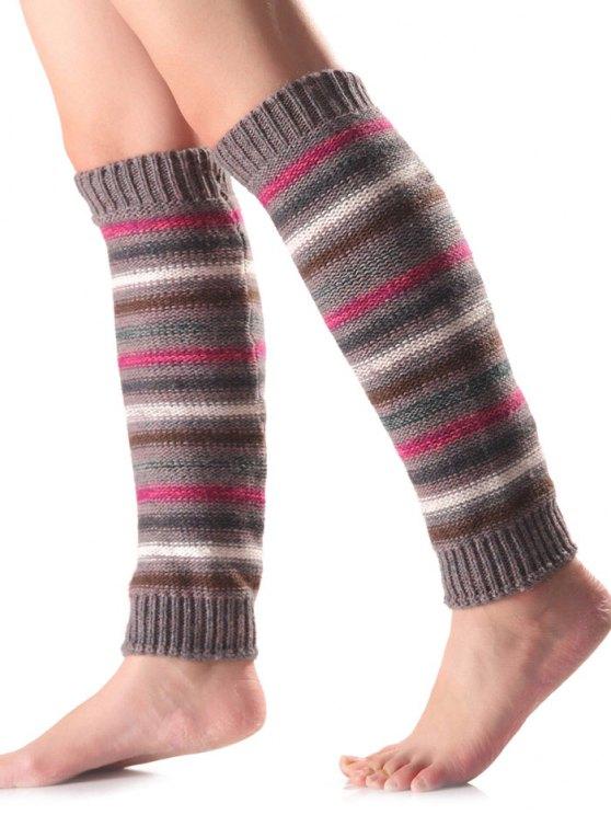 Horizontal Stripe Knit Leg Warmers -   Mobile