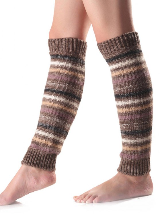 Horizontal Stripe Knit Leg Warmers -   Mobile