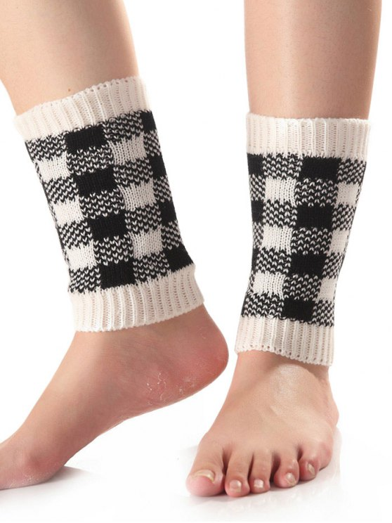 Checkered Knit Boot Cuffs -   Mobile