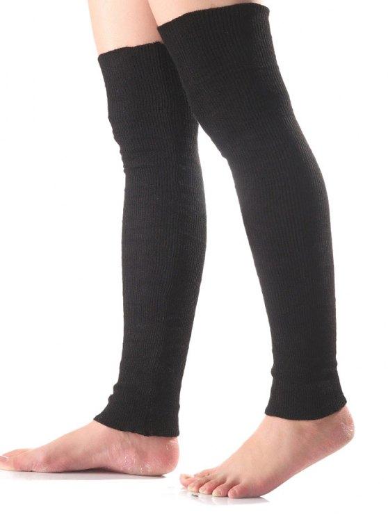 Long Knit Leg Warmers - BLACK  Mobile
