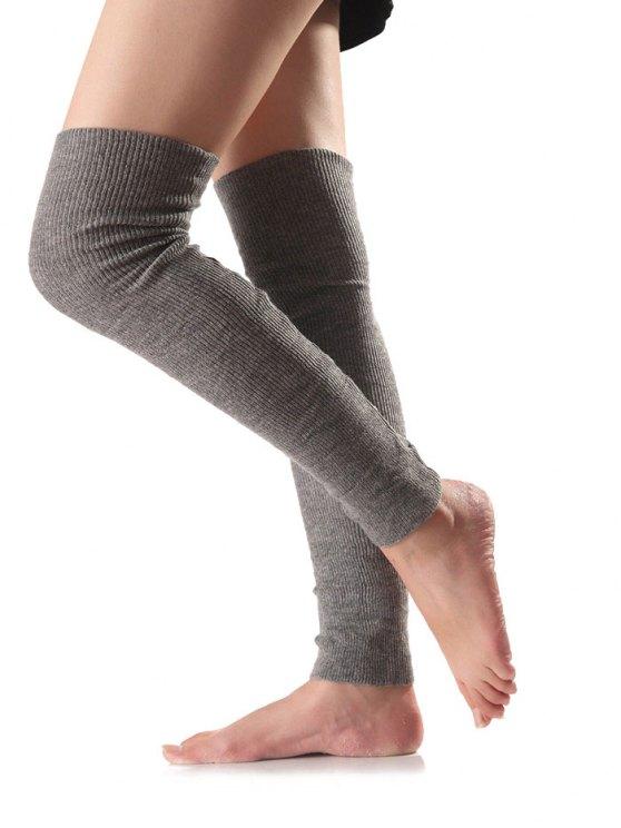 Long Knit Leg Warmers - GRAY  Mobile
