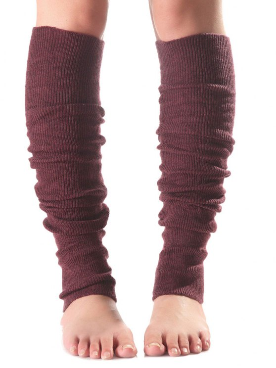 affordable Long Knit Leg Warmers - WINE RED