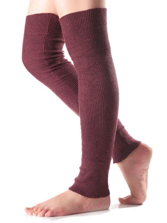 Long Knit Leg Warmers - WINE RED  Mobile