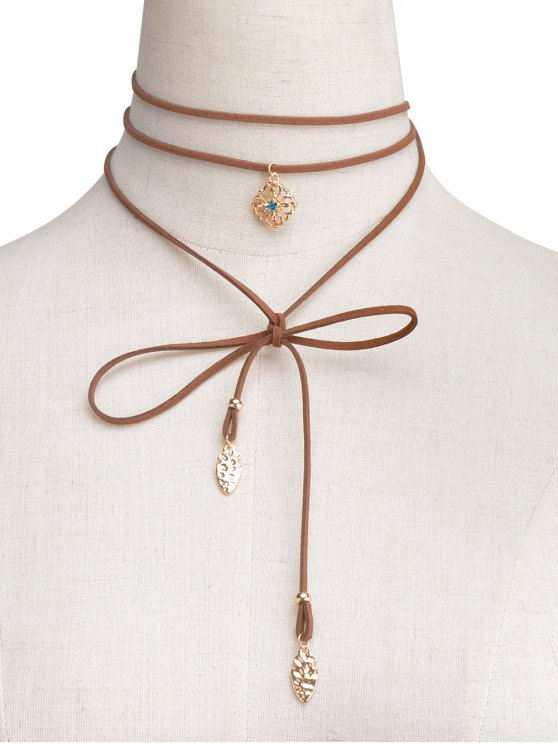 Rhinestone Flower Wrap Choker - BROWN  Mobile