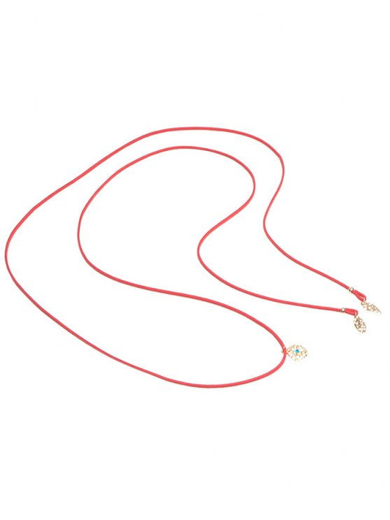 Rhinestone Flower Wrap Choker - RED  Mobile