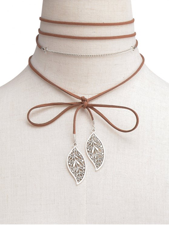 buy Hollow Out Leaf Wrap Choker - BROWN