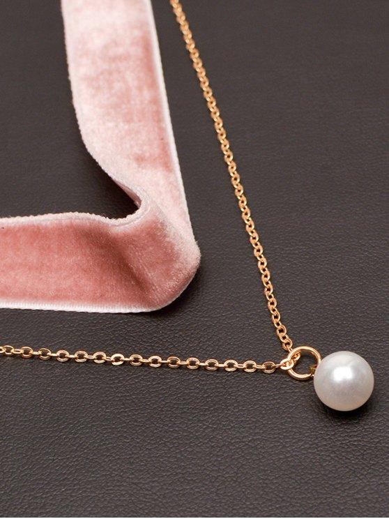 Faux Pearl Layered Velvet Choker - PINK  Mobile
