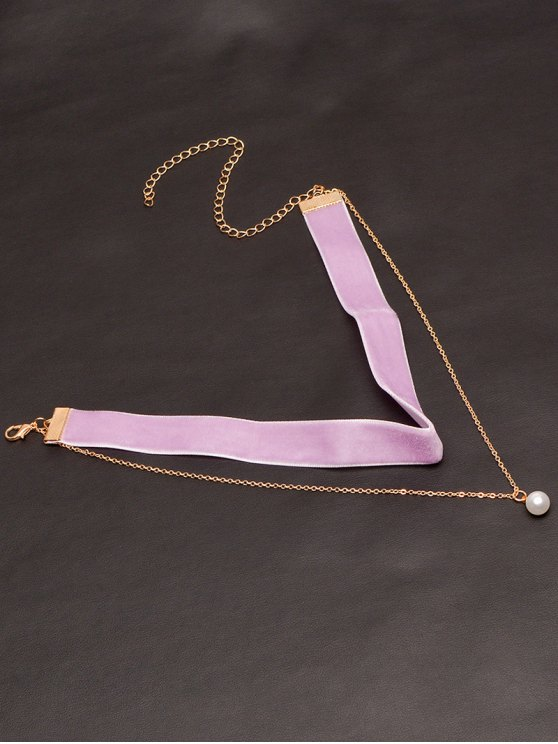 ladies Faux Pearl Layered Velvet Choker - PURPLE