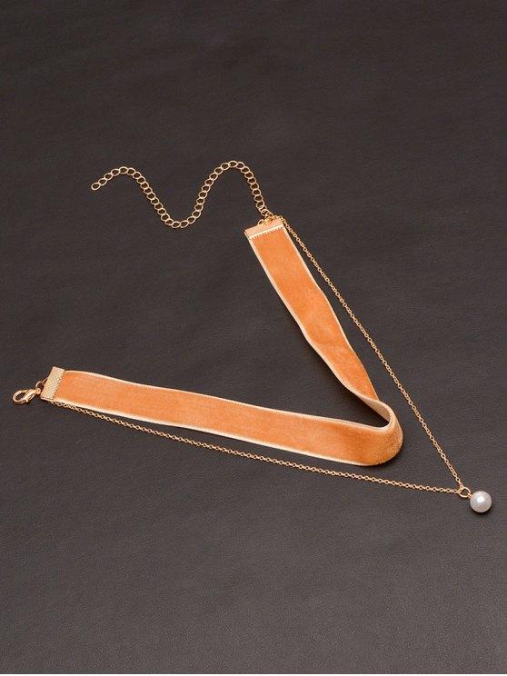 Collier ras-de-cou superposé en velours fausse perle - Camel