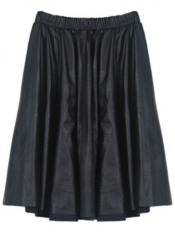 A Line PU Leather Skirt - BLACK ONE SIZE Mobile