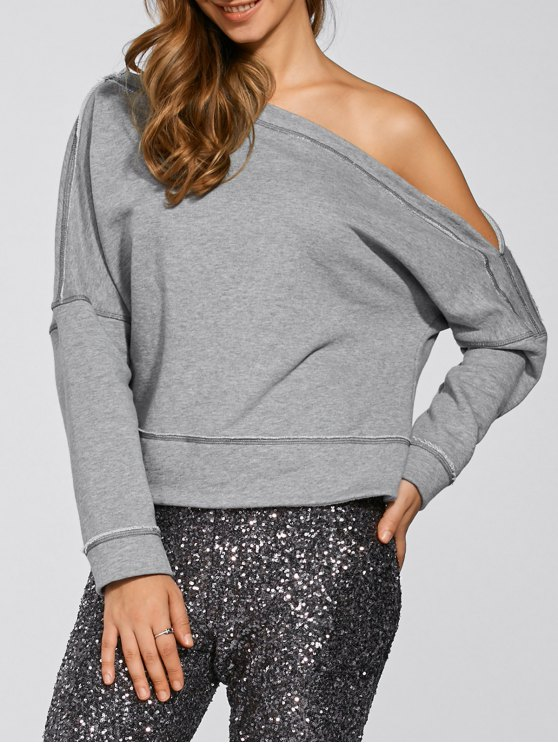 lady One-Shoulder Loose Sweatshirt - GRAY 2XL