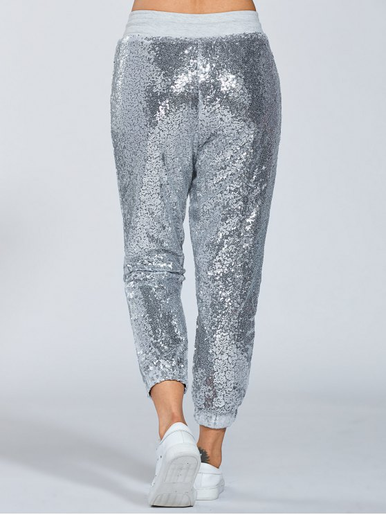 Sequins Drawsting Jogging Pants - SILVER S Mobile