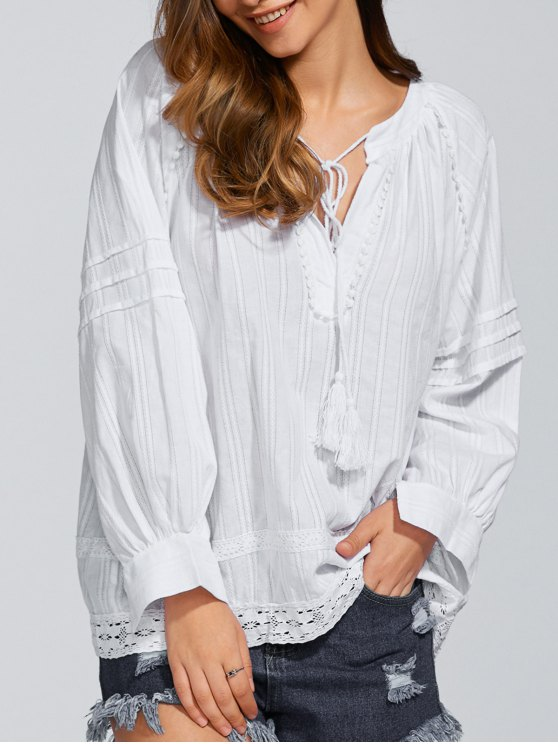 Long Sleeve Loose Fitting Blouse - WHITE ONE SIZE Mobile