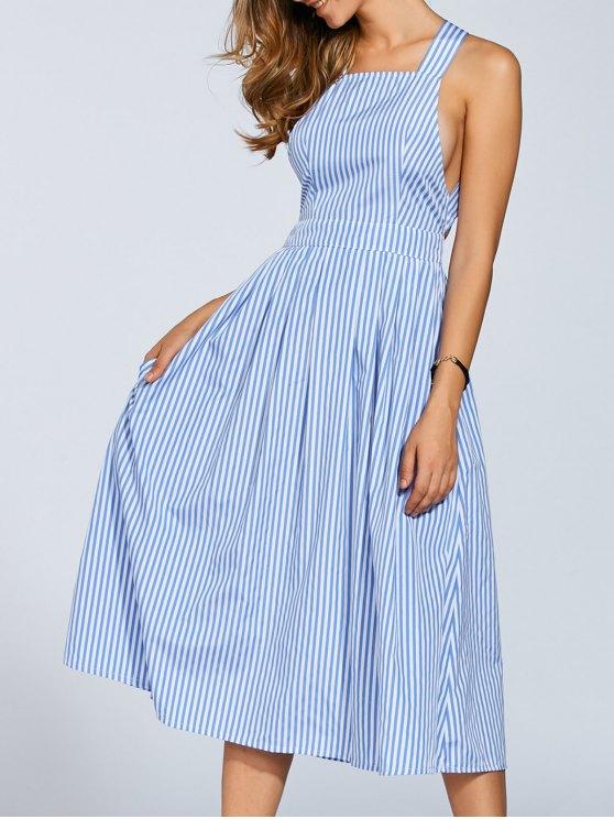 Striped Straps A Line Dress - STRIPE S Mobile