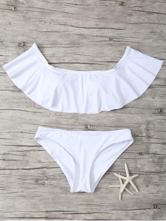 chic Ruffles Off Shoulder Bikini Swimwear - WHITE S