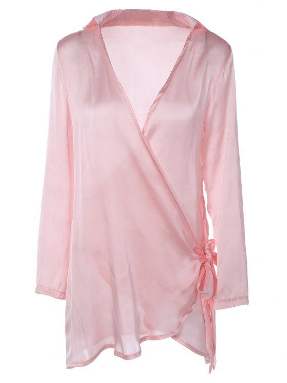 Mini Vestido cruzado manga larga de raso - Rosa M