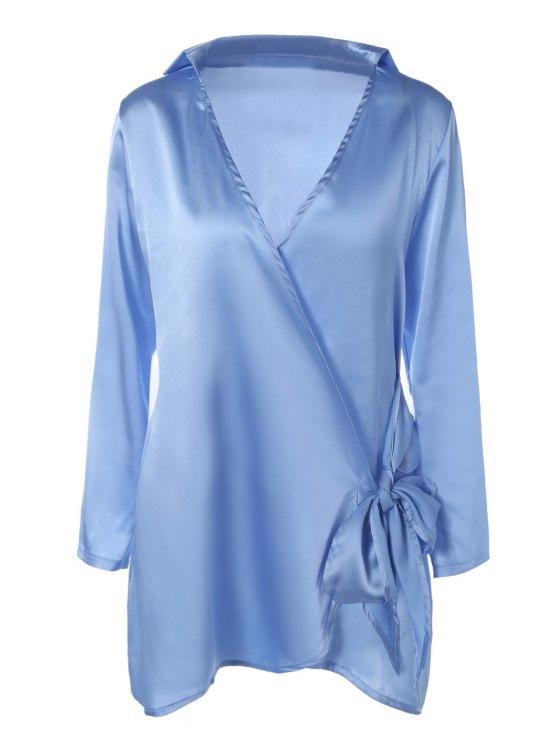 Mini Vestido cruzado manga larga de raso - Azul Claro M