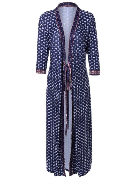 womens V Neck Printed Kimono Dress - PURPLISH BLUE M