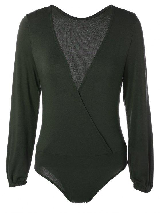 Manches longues Plunge Bodysuit - Vert Foncé S