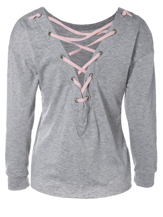 outfit Lace-Up Loose Cut Out Sweatshirt - GRAY XL