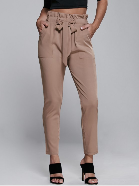 lady High Waisted Belted Narrow Feet Pants - KHAKI M