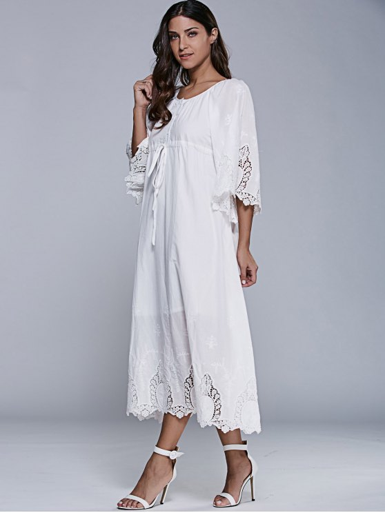 Embroidered Tea Length Shift Dress - WHITE XL Mobile