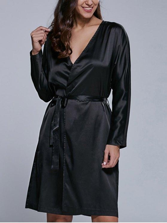 hot Long Sleeve Midi Wrap Work Dress - BLACK XL