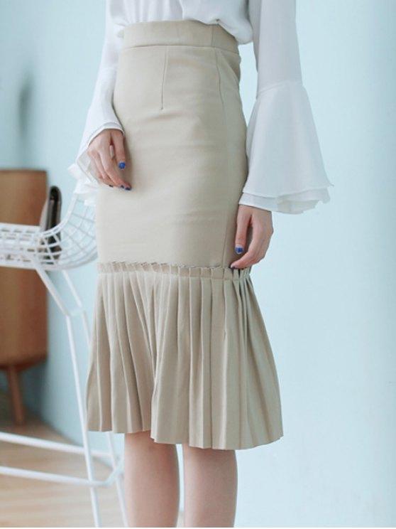 High Waisted Pleated Mermaid Skirt - LIGHT KHAKI ONE SIZE Mobile