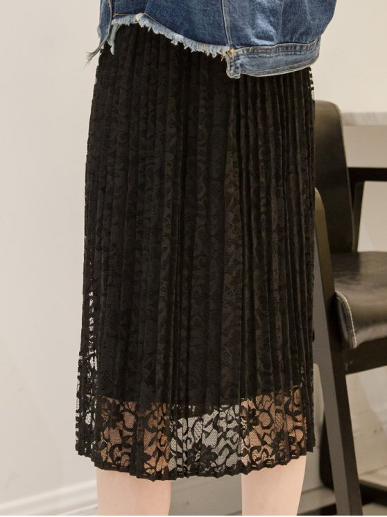 Pleated Lace Midi Skirt - BLACK ONE SIZE Mobile