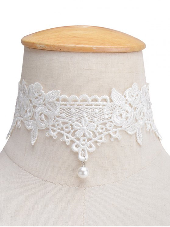 trendy Faux Lace Pearl Floral Choker Necklace - WHITE