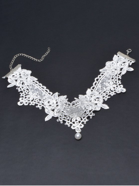 Faux Lace Pearl Floral Choker Necklace - WHITE  Mobile