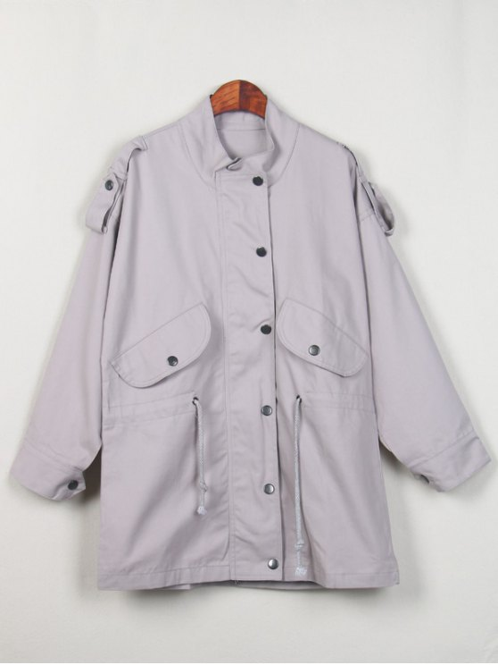 Stand Neck Epaulet Drawstring Trench Coat - LIGHT GRAY M Mobile