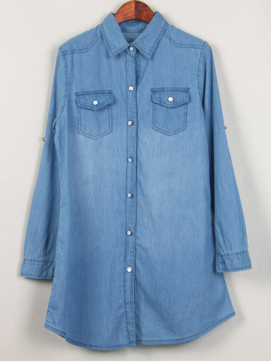 Shirt Neck Long Denim Shirt - LIGHT BLUE L Mobile