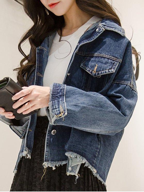 Frayed Irregular Hem Denim Jacket - BLUE ONE SIZE Mobile