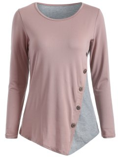 Color Block Buttoned T-Shirt - Nude Pink M