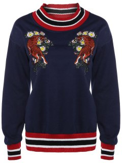 Tiger Embroidered Sweatshirt - Cadetblue