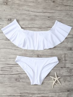 Ruffles Off Shoulder Bikini Swimwear - White M
