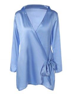 Long Sleeve Satin Mini Wrap Dress - Light Blue M