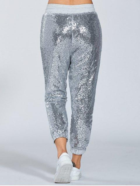 sale Sequins Drawsting Jogging Pants - SILVER XL Mobile