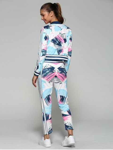 trendy Bomber Running Jacket with Printed Pants - BLUE XL Mobile